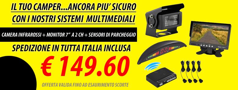 """CAMERA INFRAROSSI + MONITOR 7"""" A 2 CH + SENSORI DI PARCHEGGIO"""